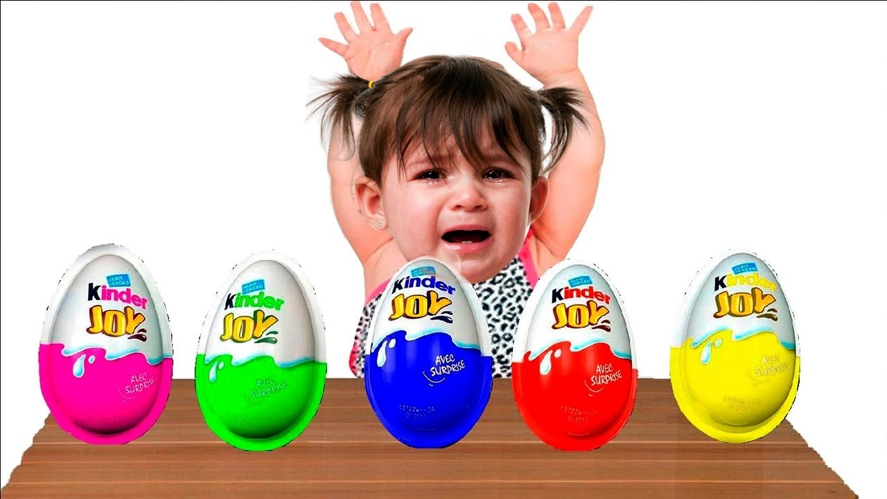 Bad Baby crying and learn colors Colorful Kinder Joy Peppa pig Finger Family Song Collection
